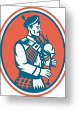 Scotsman Scottish Bagpipes Retro Greeting Card by Aloysius Patrimonio