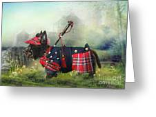 Scottie Of The Glen Greeting Card by Trudi Simmonds