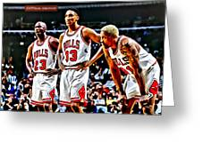 Scottie Pippen With Michael Jordan And Dennis Rodman Greeting Card by Florian Rodarte
