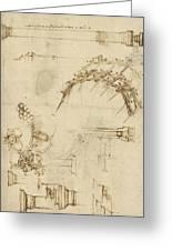 Screw Breech Bombard Decorative Geometrical Drawings Framework Of Self Supporting Military Bridge Greeting Card by Leonardo Da Vinci