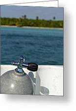 Scuba Diving Cylinder On Boat By Ocean Greeting Card by Sami Sarkis