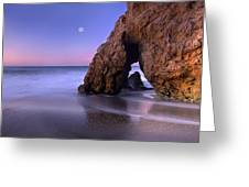 Sea Arch And Full Moon Over El Matador Greeting Card by Tim Fitzharris