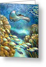 Sea Food Chain - Stingray Greeting Card by Nancy Tilles