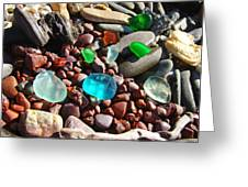 Sea Glass Art Prints Beach Seaglass Greeting Card by Baslee Troutman