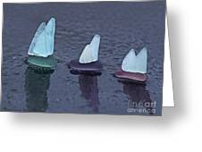 Sea Glass Flotilla Greeting Card by Barbara McMahon