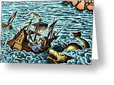 Sea Monster Attacking Ship, 1583 Greeting Card by Science Source