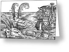 Sea Monsters Or Whales, 16th Century Greeting Card by Photo Researchers