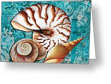 Sea Shells Original Coastal Painting Colorful Nautilus Art By Megan Duncanson Greeting Card by Megan Duncanson