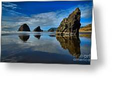 Sea Stack Blues Greeting Card by Adam Jewell