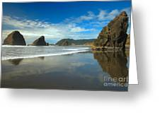 Sea Stacks In Blue Greeting Card by Adam Jewell