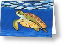 Sea Turtle Greeting Card by Adam Johnson