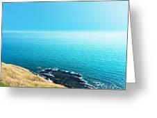 Sea Views From Cliffs Greeting Card by Atiketta Sangasaeng