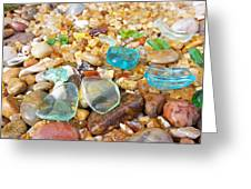 Seaglass Coastal Beach Rock Garden Agates Greeting Card by Baslee Troutman