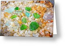 Seaglass Green Art Prints Agates Beach Garden Greeting Card by Baslee Troutman