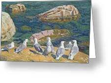 Seagulls Greeting Card by Arkadij Aleksandrovic Rylov