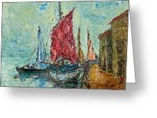 Seaport Painting Greeting Card by Russell Shively