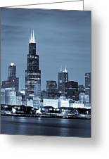 Sears Tower In Blue Greeting Card by Sebastian Musial
