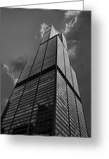 Sears Willis Tower Black And White 01 Greeting Card by Thomas Woolworth