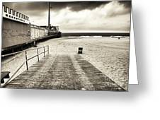 Seaside Beach Entry Greeting Card by John Rizzuto