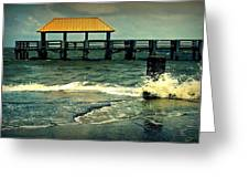 Seaside Dock Greeting Card by Ali Dover
