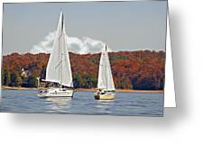 Seasonal Sailing Greeting Card by Susan Leggett