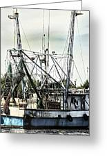 Seasoned Fishing Boat Greeting Card by Debra Forand