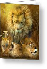 Seasons Of The Lion Greeting Card by Carol Cavalaris