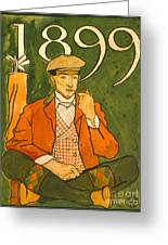 Seated Golfer 1899 Greeting Card by Padre Art
