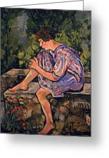 Seated Young Woman Greeting Card by Marie Clementine Valadon