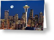 Seattle At Full Moon Greeting Card by Inge Johnsson