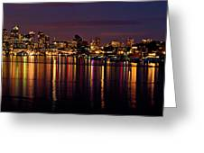 Seattle Night Reflections Greeting Card by Mary Jo Allen