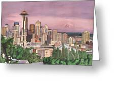 Seattle Skyline Greeting Card by Josh Marks