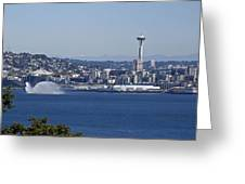 Seattle Space Needle And Fire Boat Greeting Card by Ron Roberts