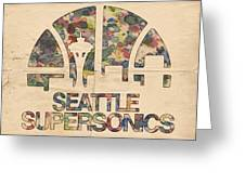Seattle Supersonics Poster Vintage Greeting Card by Florian Rodarte