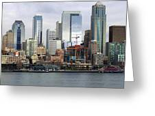 Seattle Waterfront Skyline Greeting Card by Ron Roberts