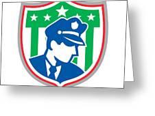 Security Guard Police Officer Shield Greeting Card by Aloysius Patrimonio