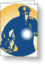 Security Guard Policeman Police Dog Greeting Card by Aloysius Patrimonio