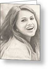 Selena Gomez Greeting Card by Kendra Tharaldsen-Franklin