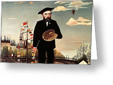 Self portrait Greeting Card by Henri Rousseau