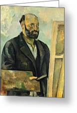 Self Portrait With Palette Greeting Card by Paul Cezanne