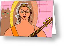 Self Portrait With Rufus And Guitar Greeting Card by Anita Dale Livaditis