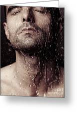 Sensual Portrait Of Man Face Under Shower Greeting Card by Oleksiy Maksymenko