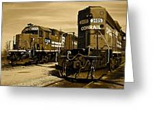 Sepia Trains Greeting Card by Frozen in Time Fine Art Photography