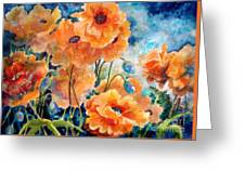 September Orange Poppies Greeting Card by Kathy Braud