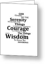 Serenity Prayer 6 - Simple Black And White Greeting Card by Sharon Cummings