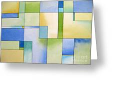 Serenity Watercolor Pen And Ink Geometric Abstract Painting Greeting Card by Cherilynn Wood