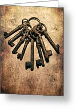 Set Of Old Rusty Keys On The Metal Surface Greeting Card by Jaroslaw Blaminsky