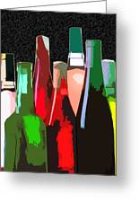 Seven Bottles Of Wine On The Wall Greeting Card by Elaine Plesser