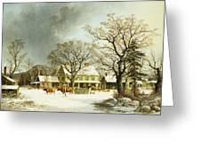 Seven Miles to Salem Greeting Card by George Henry Durrie