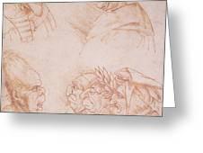 Seven Studies of Grotesque Faces Greeting Card by Leonardo da Vinci
